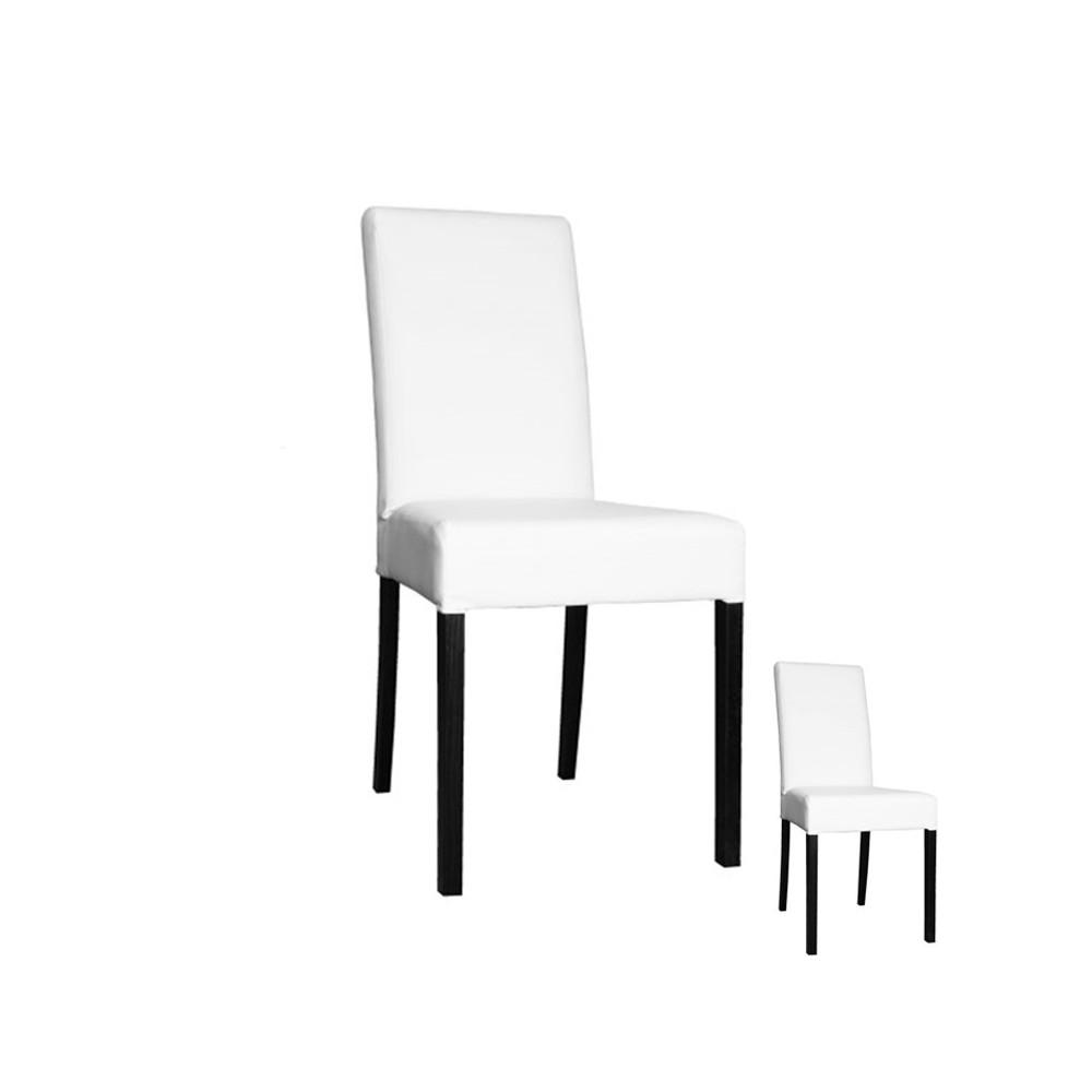 Duo de chaises Simili Cuir Blanc - SONIA