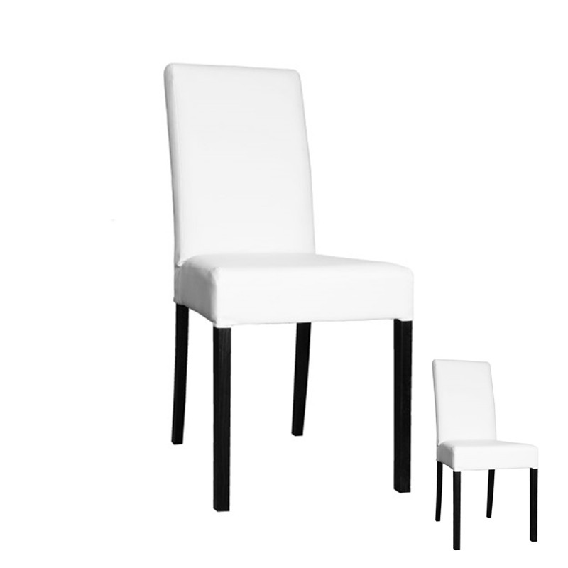 Chaises simili cuir blanc maison design for Chaise simili cuir