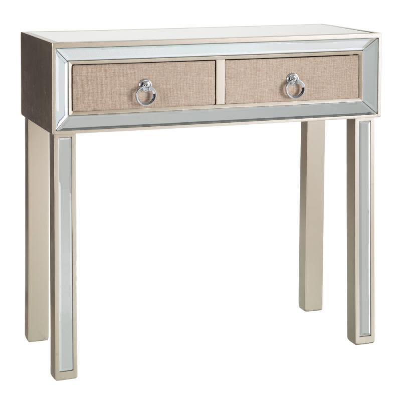 Console 2 tiroirs Miroir/Crème - MIRIANE