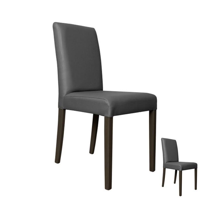 Duo de chaises Simili Cuir Gris - SONIA