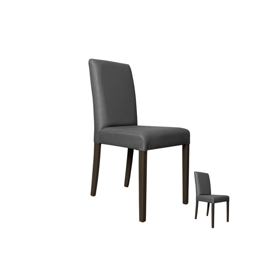 duo de chaises simili cuir gris sonia univers assises tousmesmeubles. Black Bedroom Furniture Sets. Home Design Ideas