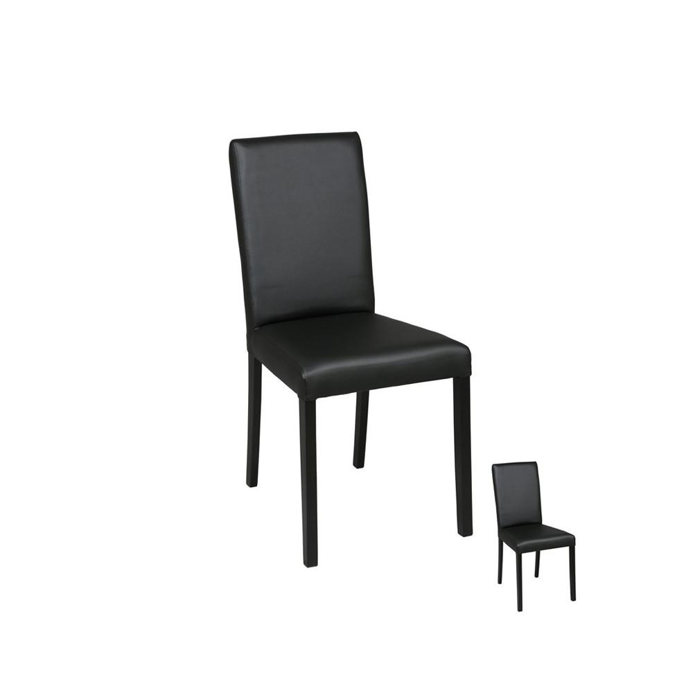 Duo de chaises Simili Cuir Noir - SONIA