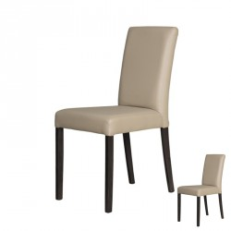 Duo de chaises Simili Cuir Taupe - SONIA