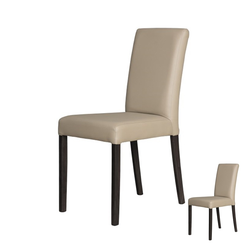 Duo de chaises simili cuir taupe sonia univers assises - Chaises simili cuir ...