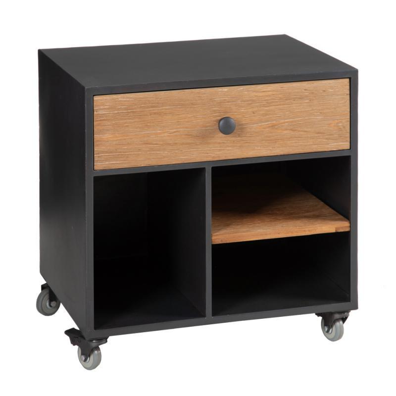 Table de chevet 1 tiroir Métal/Bois - SOPHIE