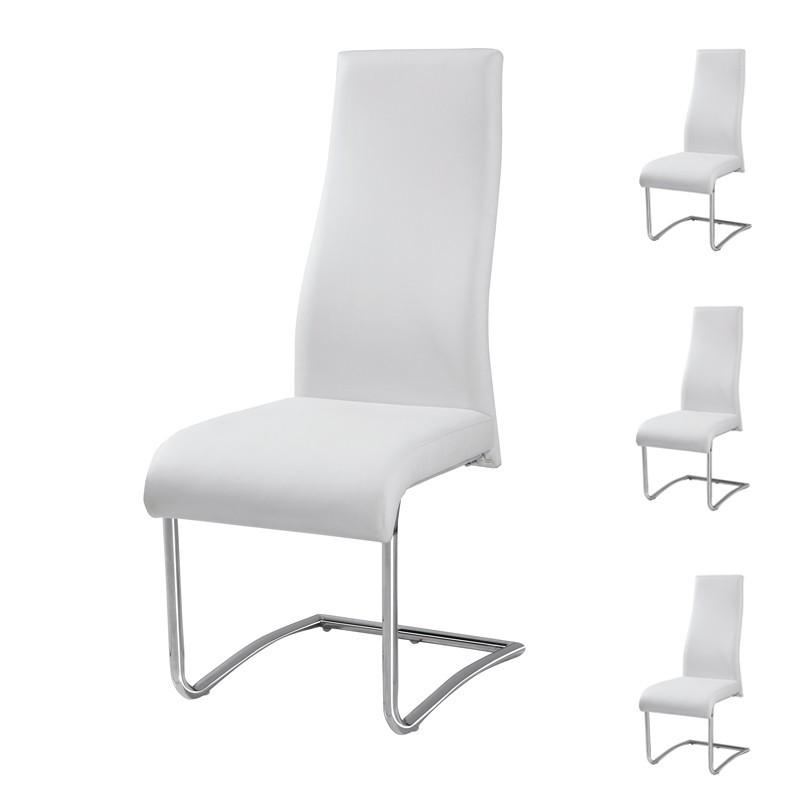 quatuor de chaises simili cuir blanc rome - Chaise Cuir Blanc