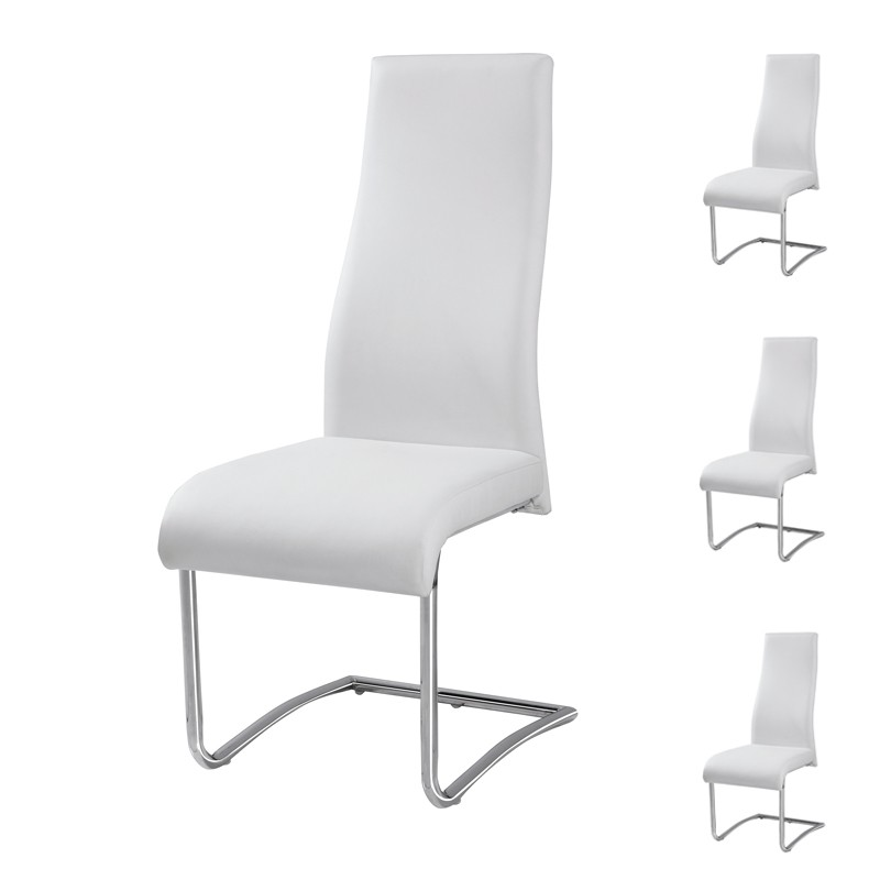 Chaises simili cuir blanc maison design for Chaise cuir blanc