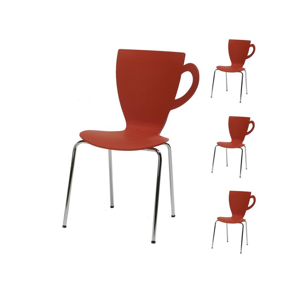 Quatuor de chaises Rouge - MUG