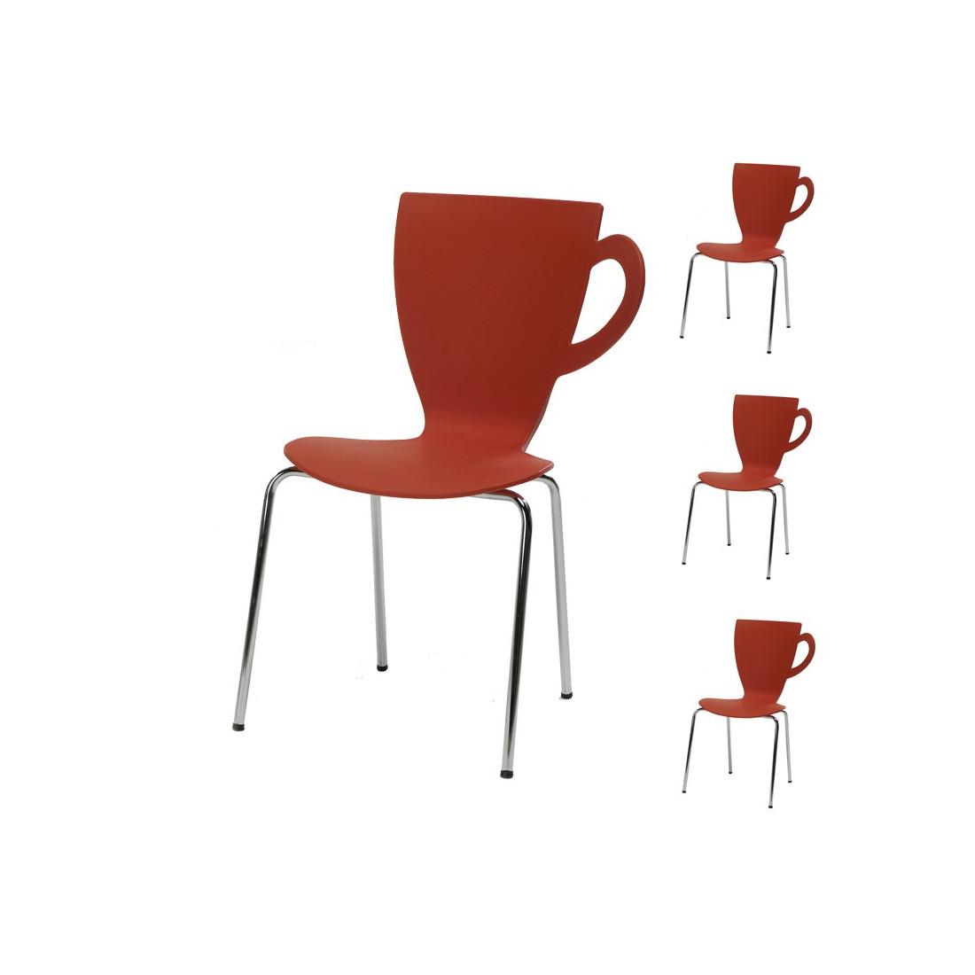 Quatuor de chaises rouge mug univers salle manger - Chaise salle a manger rouge ...