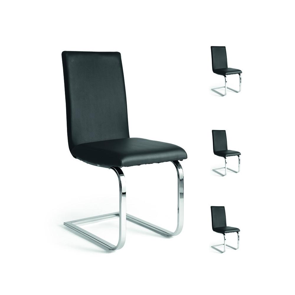 Quatuor de chaises simili cuir noir tomy univers salle for Chaise de salle a manger simili cuir noir
