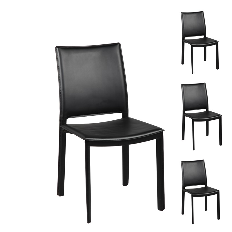 4 chaises noir blake univers du salon tousmesmeubles. Black Bedroom Furniture Sets. Home Design Ideas