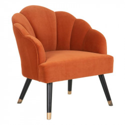 Fauteuil coquillage Velours orange - MONIA