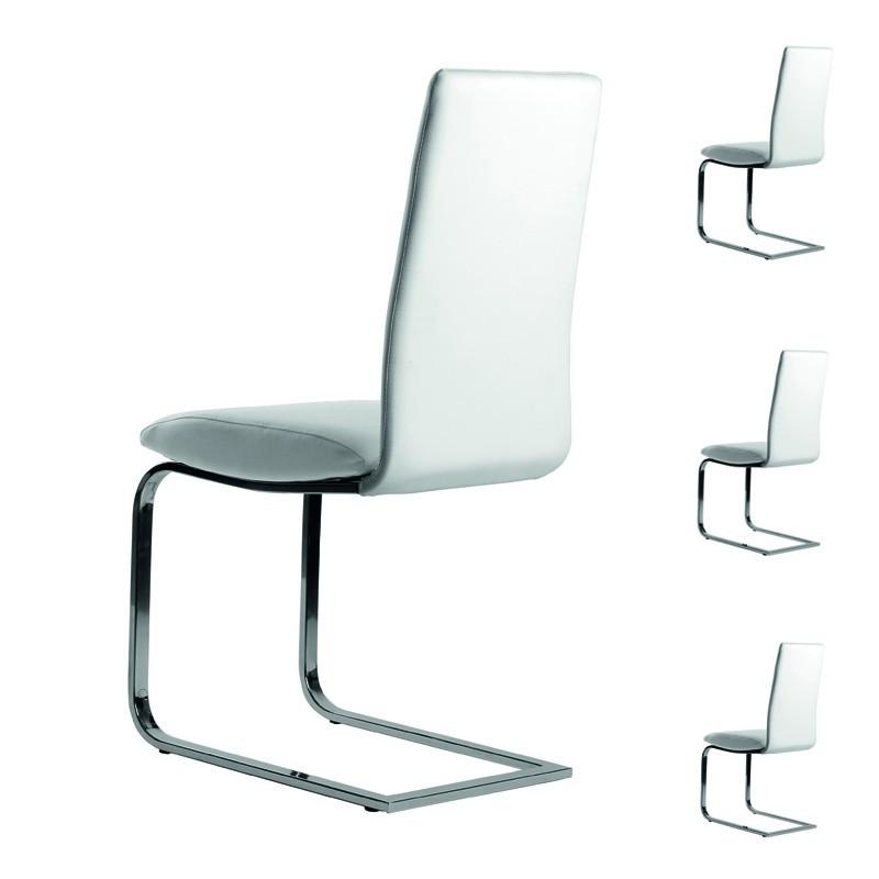 quatuor de chaises simili cuir blanc tomy - Chaise Simili Cuir