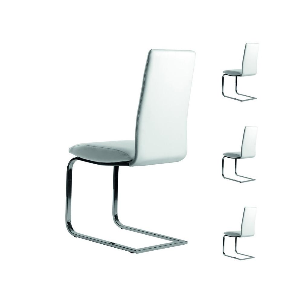 Quatuor de chaises simili cuir blanc tomy univers salle for Chaise cuir blanc