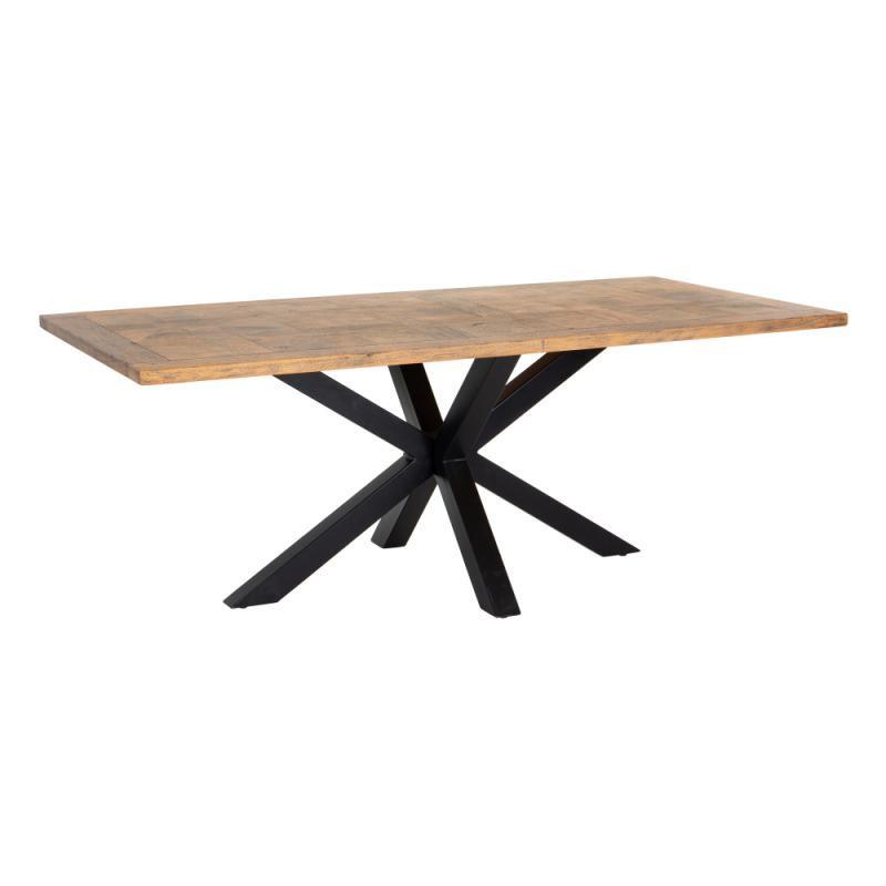 Table de repas rectangulaire Noir/Bois parqueté - BOB
