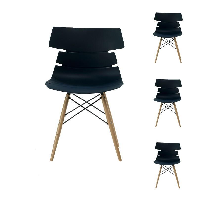 Quatuor de chaises Noires - SIRY