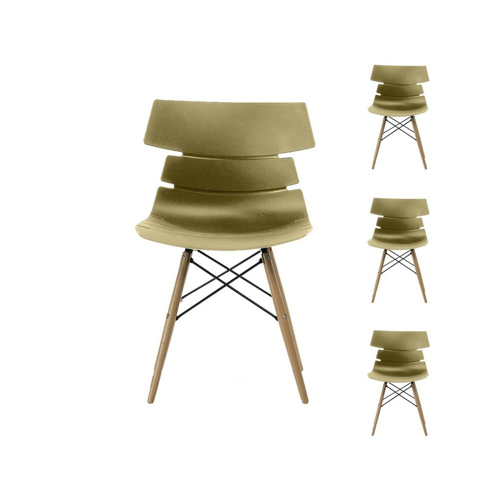 Quatuor de chaises Moutarde - SIRY