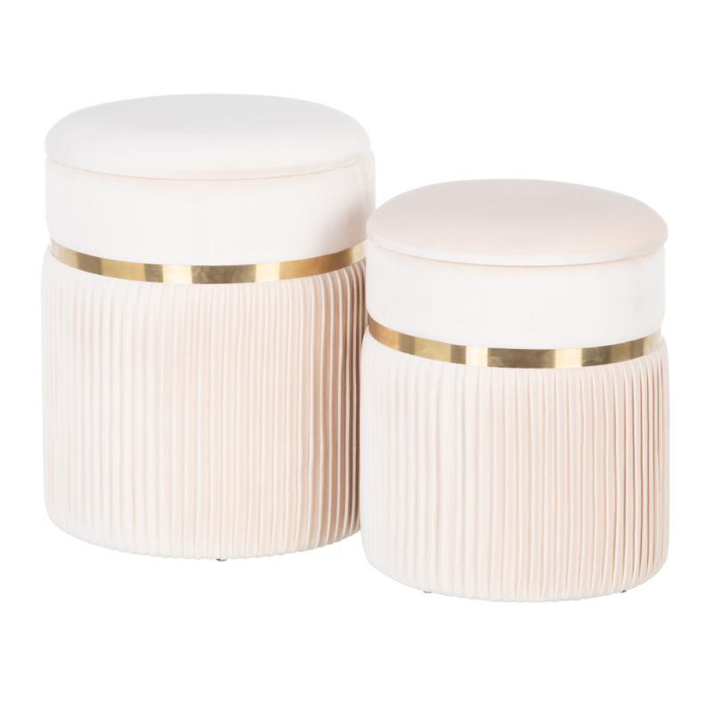 Duo de Poufs coffres Tissu crème/Métal or - ETIOR