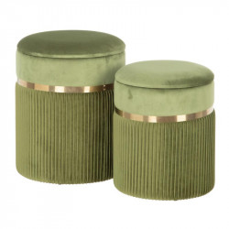 Duo de Poufs coffres Tissu vert/Métal or - ETIOR