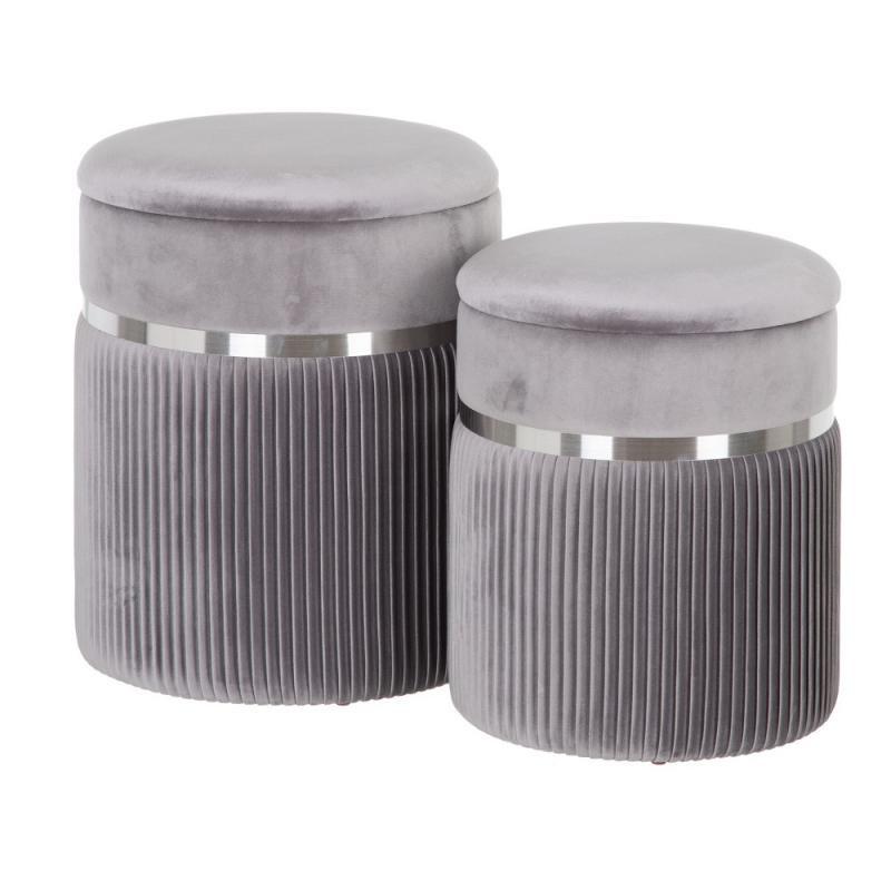Duo de Poufs coffres Tissu gris/Métal argent - ETIOR