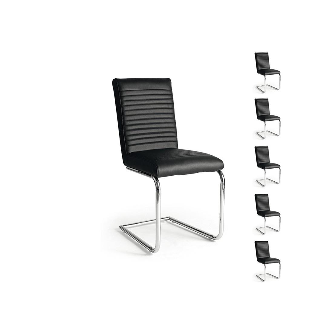 Lot de 6 chaises segure univers salle manger tousmesmeubles - Chaises simili cuir noir ...