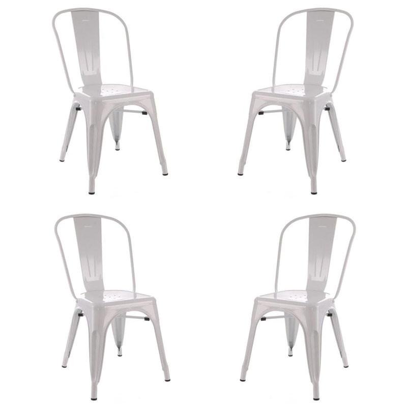 Quatuor de Chaises Métal blanc - VASSIA