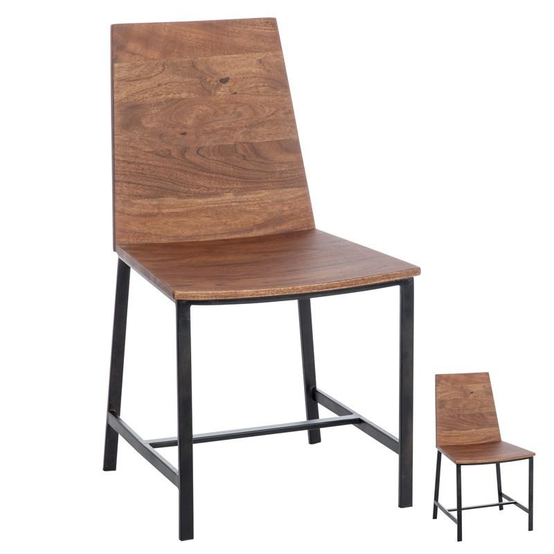 Duo de chaises Bois naturel et Métal - PATCHOULI