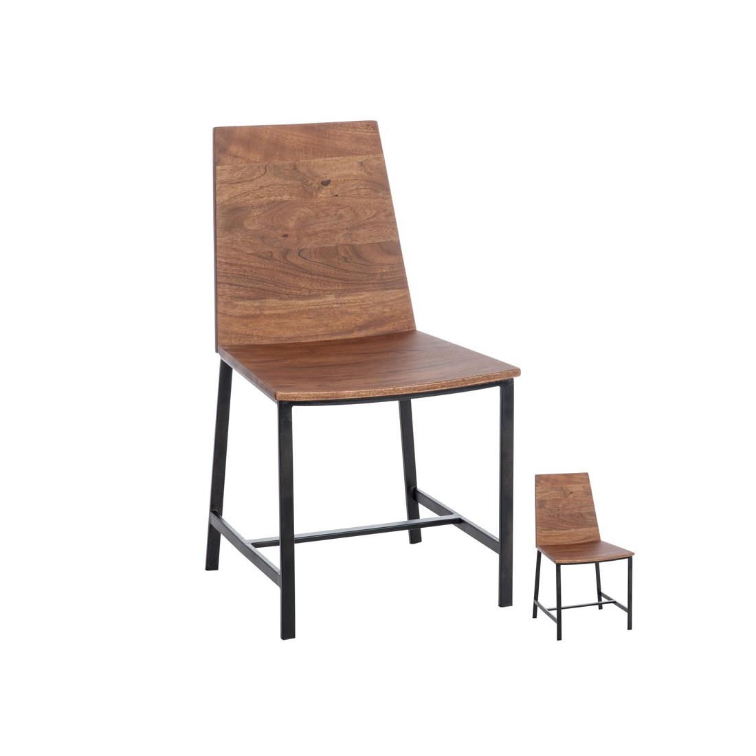 duo de chaises bois naturel et m tal patchouli univers. Black Bedroom Furniture Sets. Home Design Ideas