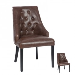 Duo de chaises Chesterfield Simili Cuir - BOSTON