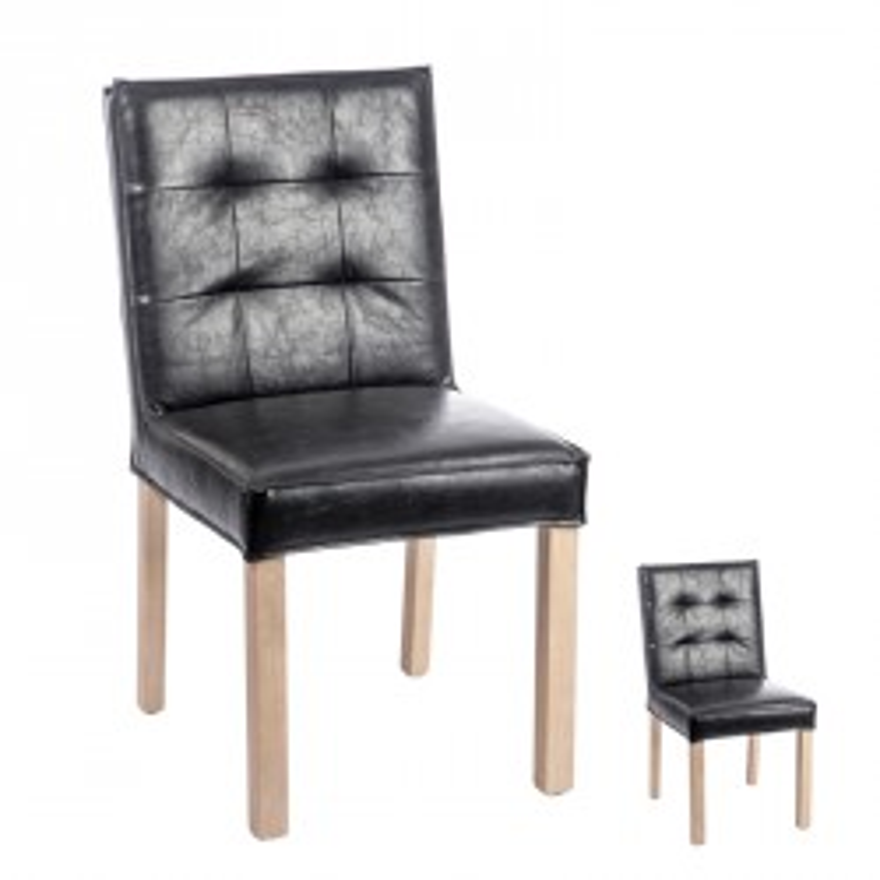 Duo de chaises capitonnées Noir - SCOTTY
