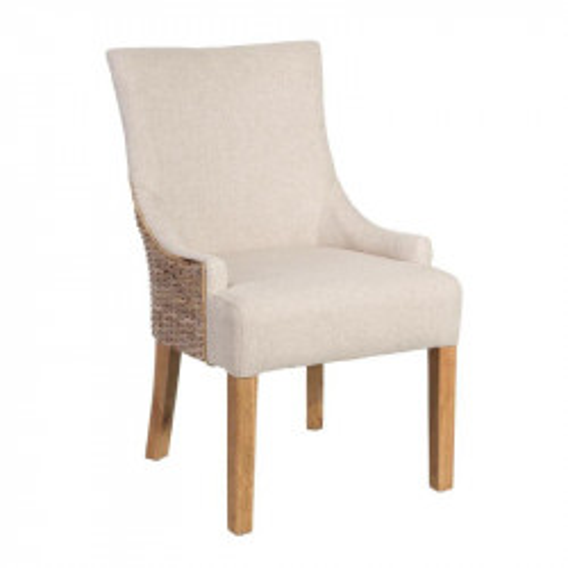 Chaise à accoudoirs Tissu/Rotin beige - SAFA