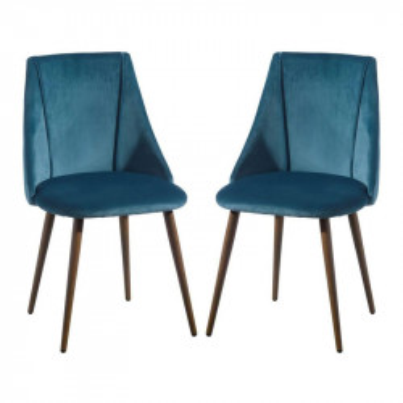 Duo de Chaises Velours bleu - DONA