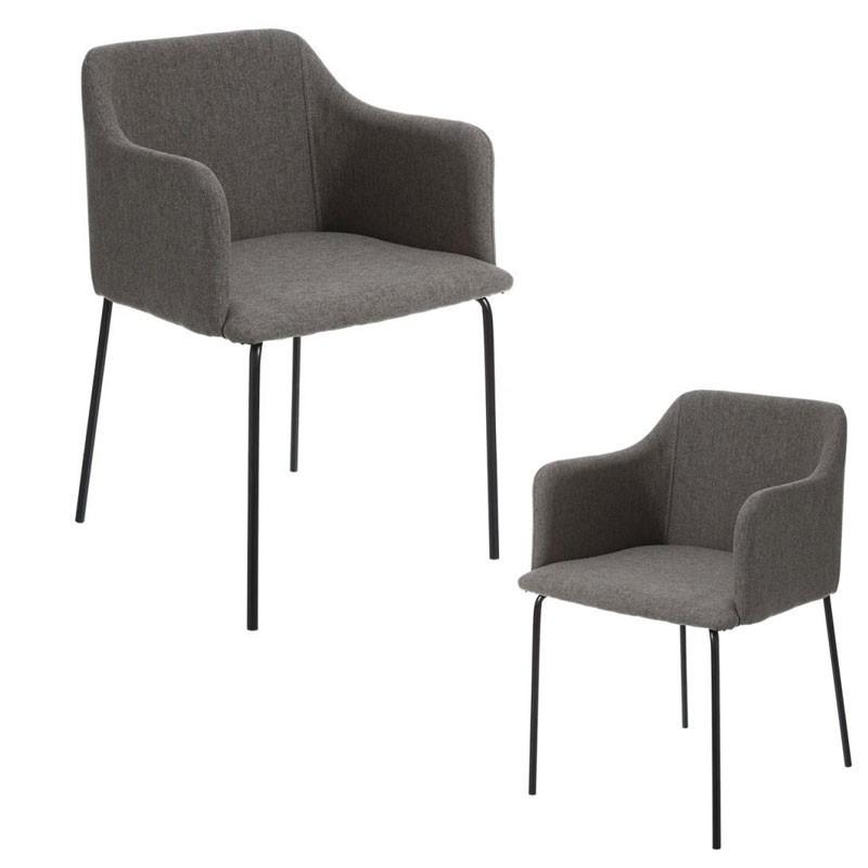 Duo de Fauteuils Tissu gris foncé/Métal noir - CIOP