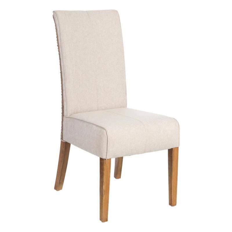 Chaise Tissu beige/Rotin gris - SAFA