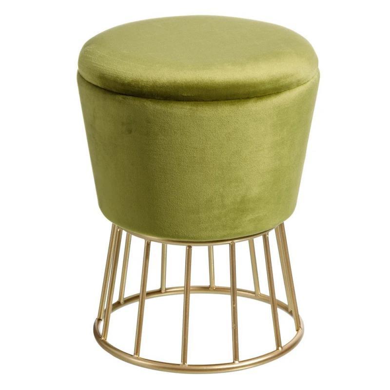 Pouf coffre forme bouchon Velours vert/Métal or - ETIOR