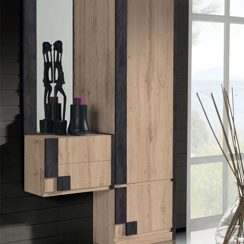 Meuble d'entrée + armoire + miroir Chêne blond/Marron -  PAOULA