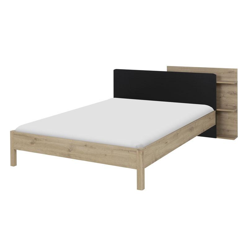 Cadre + Tête de lit 140*200 Chêne/Noir + rangements - ESTHER