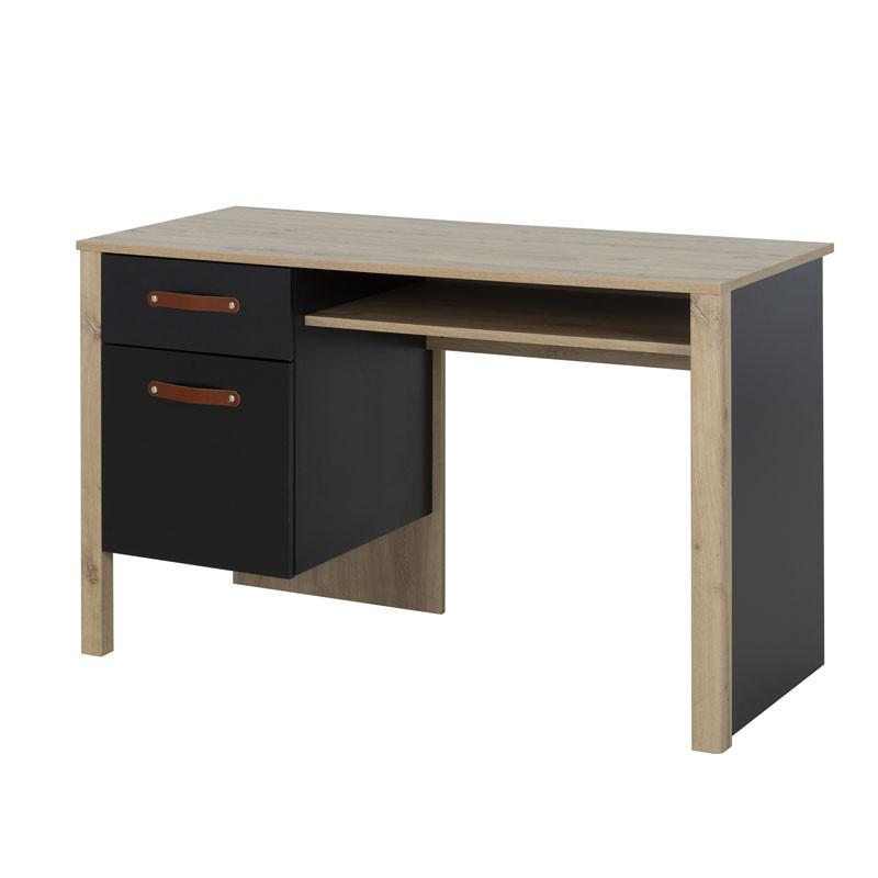 Bureau 1 tiroir 1 porte Chêne/Noir - ESTHER