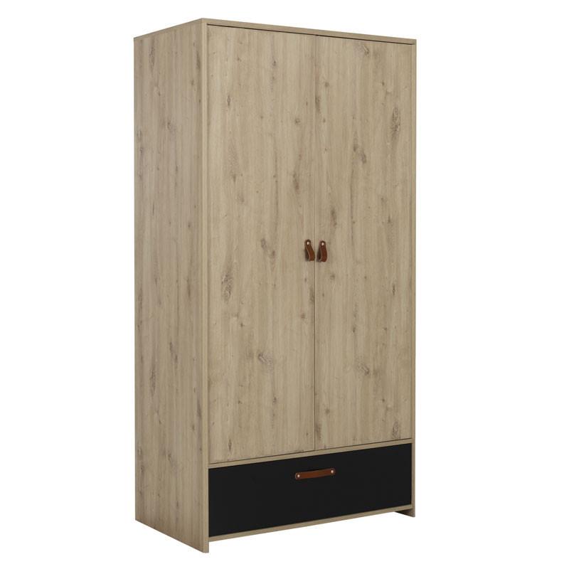 Armoire 2 portes 1 tiroir Chêne/Noir - ESTHER