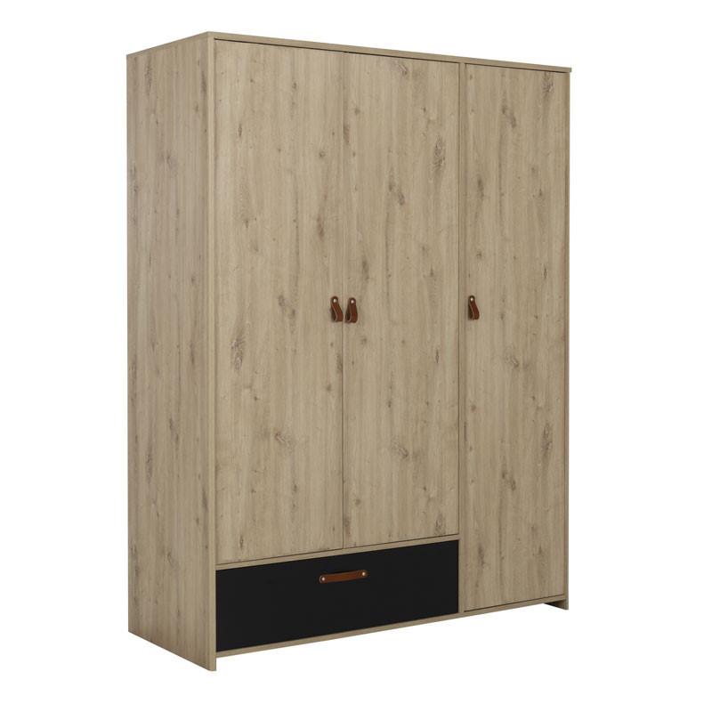 Armoire 3 portes 1 tiroir Chêne/Noir - ESTHER