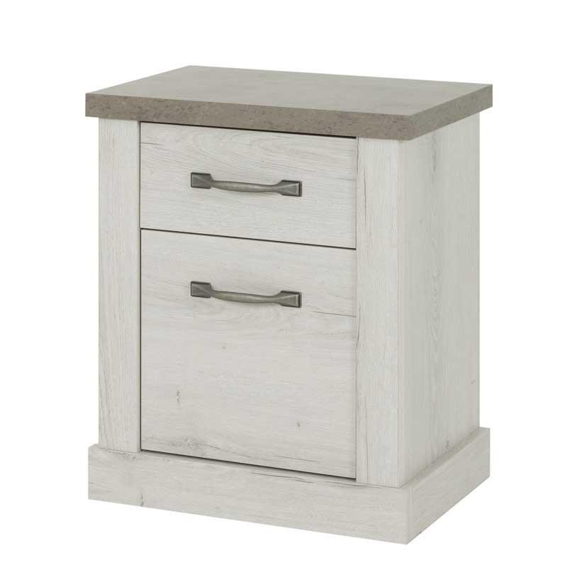 Table de chevet 1 tiroir 1 porte Chêne blanchi/Béton - PERLE