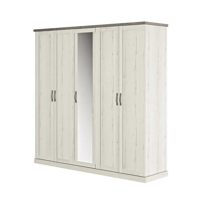 Armoire 5 portes Chêne blanchi/Béton - PERLE