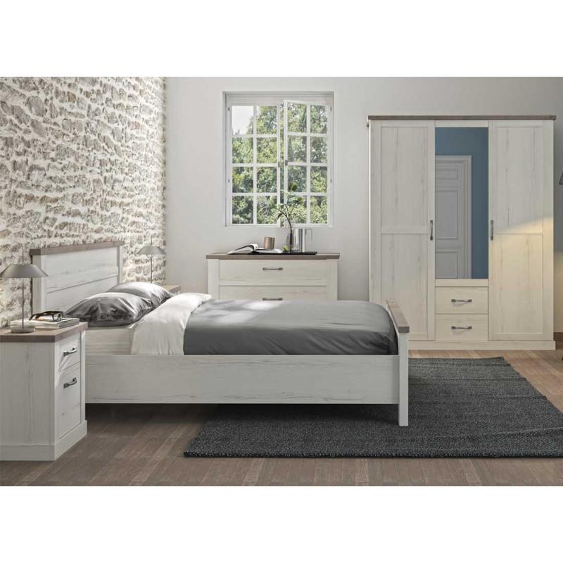 Chambre Adulte Complète (140*200) Chêne blanchi/Béton - PERLE
