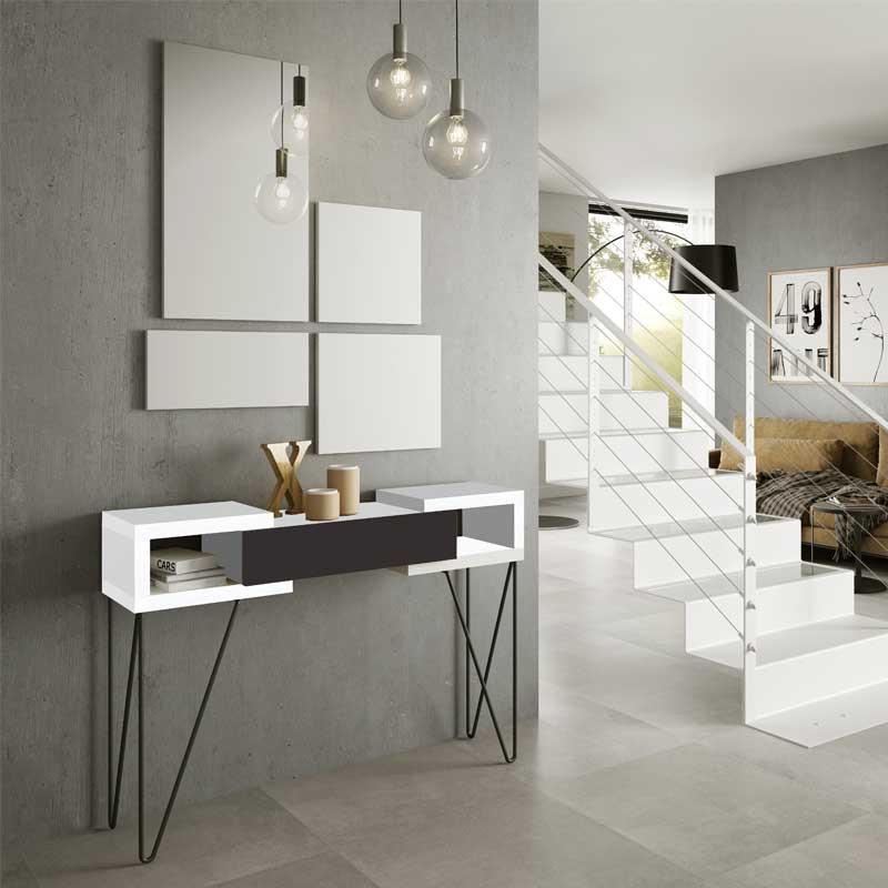 Console + miroir Blanc/Laque marron - SOLDIA