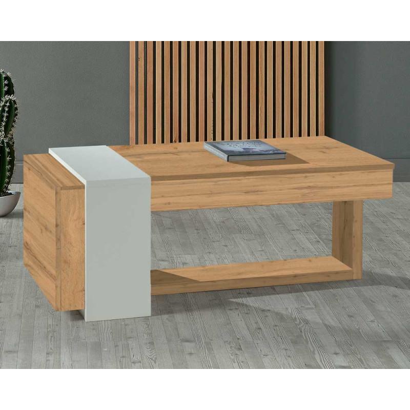 Table basse relevable 2 tiroirs Chêne blond/Bois blanc - ESTEBAN