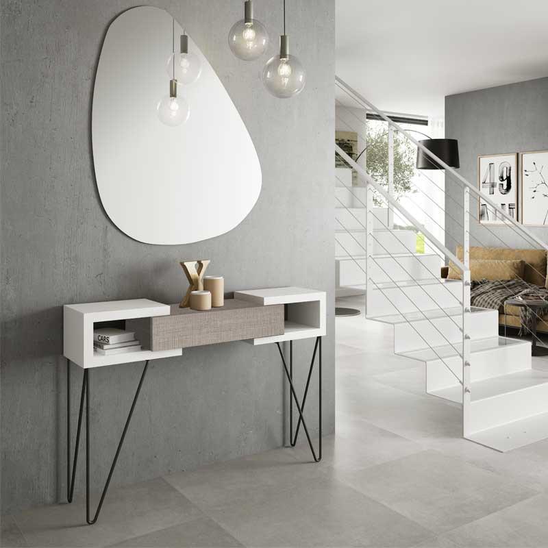 Console + miroir Bois blanc/Chêne clair - SOLDIA n°2