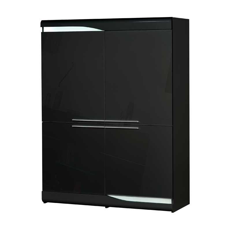 Vaisselier 4 portes Noir laqué brillant à LEDs - PESMES