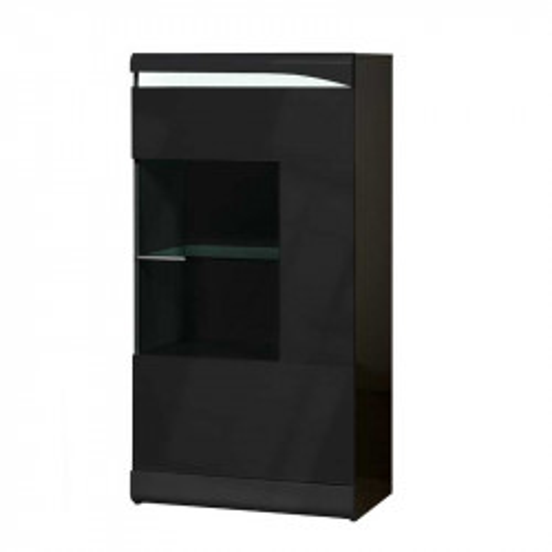 Vitrine 1 porte Noir laqué brillant - PESMES