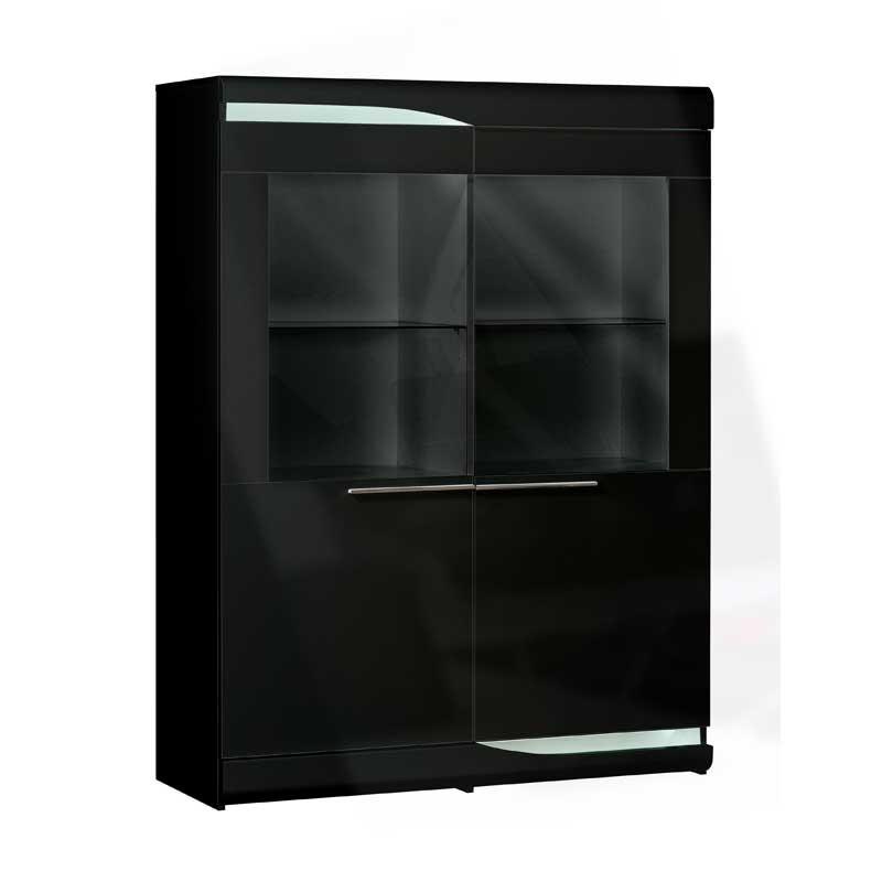 Vitrine 2 portes Noir laqué brillant à LEDs - PESMES