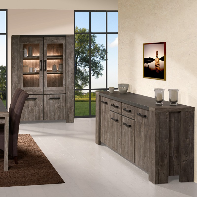 buffet 4 portes 2 tiroirs 240cm robinson univers de la salle manger tousmesmeubles. Black Bedroom Furniture Sets. Home Design Ideas